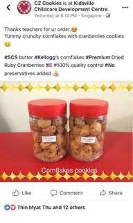 Cornflakes with cranberries cookies