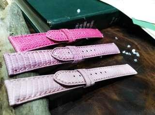 Pink Lizard 18MM Leather Watch Strap