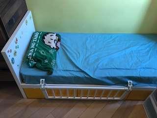 兒童床架 兩個櫃桶 連床欄