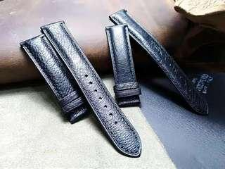 Black Ostrich 20MM Leather Watch Strap