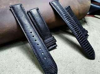 Black Lizard Leather Watch Strap