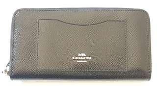 New Black Crossgrain leather Accordion Wallet