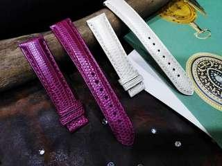 Pink & White Lizard Leather Watch Strap