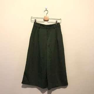 日牌 墨綠寬褲(M)