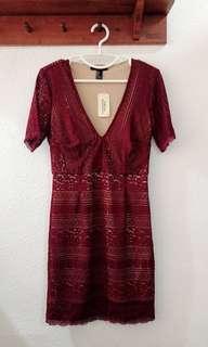 BNWT Maroon Lace Dress
