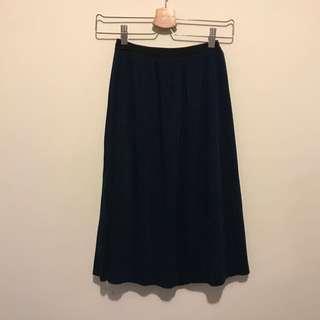 韓版 直線壓紋中長裙(深藍色)