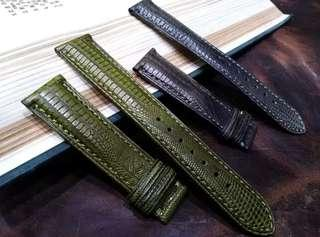 Black & Green Lizard Leather Watch Straps