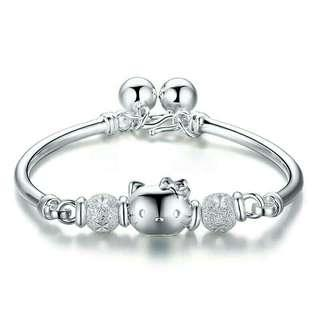693a5368a 🎁Cute S925 Sterling Silver Hello Kitty Bangle Bracelet With Bells  (Adult-size)