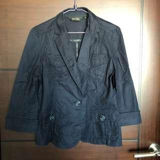 🚚 深藍棉質七分袖西裝外套