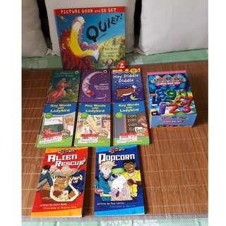 6 Ladybird books, 5-DVD Box Set (Number Jacks), 2 Out of this World books & Picture book with CD set.