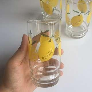Retro Sunny Lemon Water Glasses