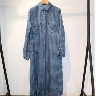 🚚 韓版單寧直條紋襯衫裙(s號) -僅限小七超取付款