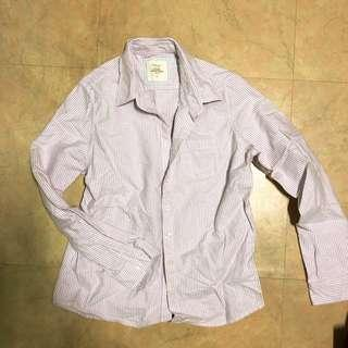 🚚 Lativ 粉紫色條紋襯衫