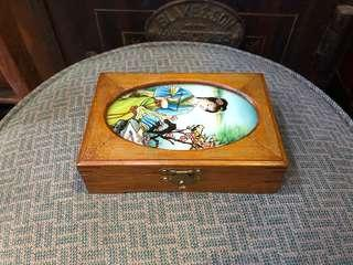 Glass reverse Hand painted jewellery box