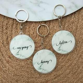 Custom Personalised Keychain / Key Rings - Grey Marble