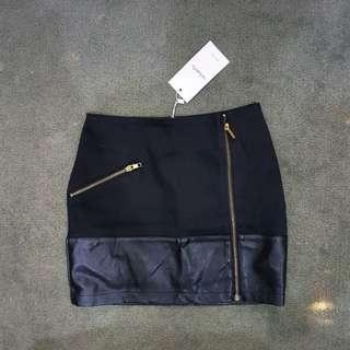 BNWT Black suede pencil skirt with leather and gold accents