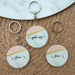 Custom Personalised Keychain / Key Rings - Pink Grey Marble