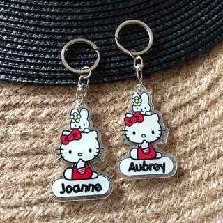 Custom Personalised Keychain / Key Rings - Hello Kitty
