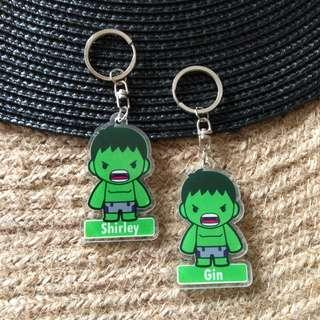 Custom Personalised Keychain / Key Rings - Hulk