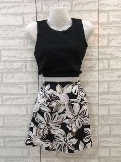 Black Floral Crop Top with Skirt 0019