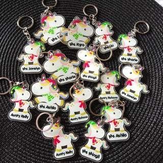 Custom Personalised Keychain / Key Rings - Christmas Unicorn