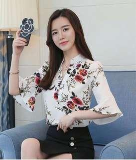 Floral Print Long Sleeve Blouse (White)