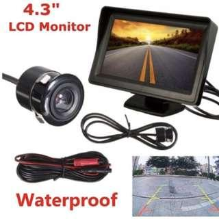 "4.3"" LCD Display with Rear Reverse Camera - Complete Set, Ready Stock"