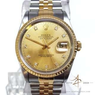 4c2f86bc38d Rolex Diamond Dial Datejust 18k Gold Bezel Ref 16233 (Year 1991)