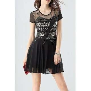 Waisted Corset Beaded Dress - BLACK S