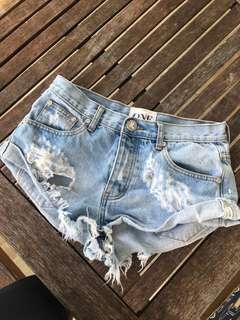 One teaspoon size 25 distressed denim shorts