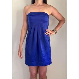 LADAKH Cobalt Blue Pocket Detail Strapless Mini Dress Sz AU 10