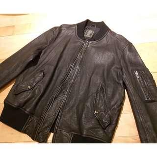 Ma1 black leather jacket
