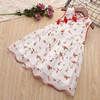 Floral Sleeveless V Neck Cheongsam Dress