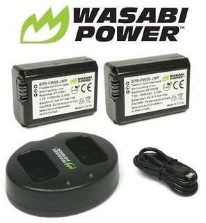 Wasabi 1300mAh Battery (2-Pack) & Dual USB Charger for Sony NP-FW50