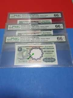 $1-MBB-1959 SIGN TDL 3PCS RUNNING ALL PMG66EPQ ORIGINAL PAPER
