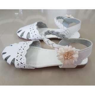 Sandals Girls Shoes Slip On White Flower Shoes