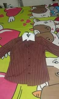 White N Brown Office Long Shirt #NEW99