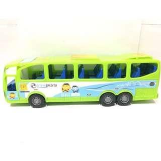 Bus Transjakarta Busway Jumbo Mainan Bis Anak Laki-Laki Warna Hijau HA