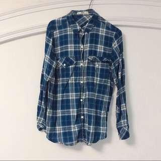 🚚 Mango 藍色格子襯衫