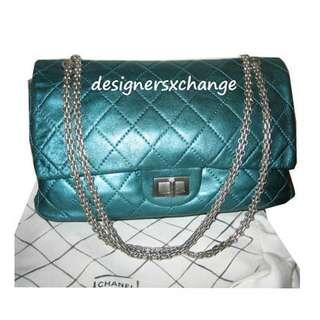 690d0458d4d16f Chanel 2.55 Turquoise Metallic Soft Calf Leather Reissue 227 (Maxi) Matte  Silver Hardware Double