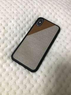 聖誕禮物精選🎅🏻 iPhone XS 冬日混皮布紋電話殼 Phone Case brown Christmas