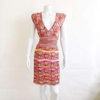 Auth MISSONI Striped Bodycon Knit Dress V Neck Orange Red Yellow IT 40 US 4 GUC