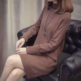 啡色針織連身裙