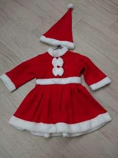 女童連身裙 聖誕裙 聖誕服飾 聖誕帽
