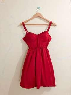 Bustier Red Flare Dress