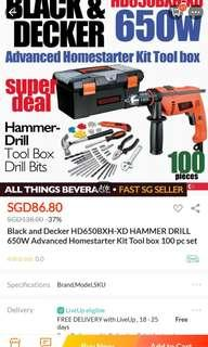 Black and Decker drill and 100 bit toolset