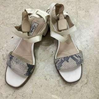 Clarks White Strappy Heels