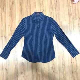 Blue and black stripped office shirt