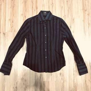 Black striped office shirt with cuffs
