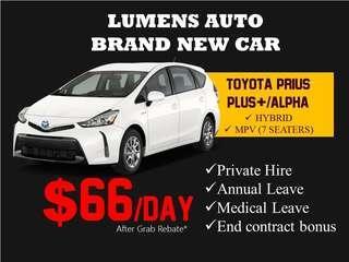 Toyota PRIUS + - CAR RENTAL FOR GRAB / PRIVATE HIRE